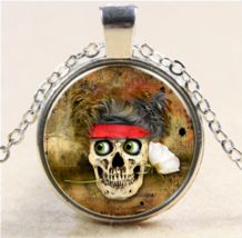 Biker Skull With Rose Cabochon Necklace (8657) >> Mystery Item Included - $2.96