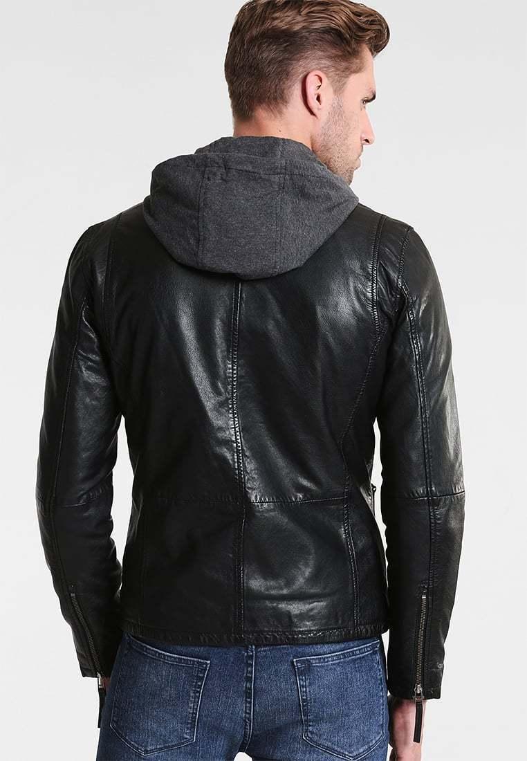 New Men/'s Motorcycle Brando Style Biker Real Leather Hoodie Jacket