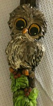 Lg.50's 60's Vintage Wood big eyed Owl On Log Wall Art Resin Retro Kitsc... - $29.69