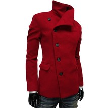 2018 Fashion New Men's Casual Design Wind Wool Coat Men(Red/Black/Gray/B... - $66.10