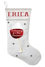 Wine Christmas Stocking - Personalized and Hand Made I'm Dreaming of a W... - $29.99