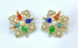 VTG Sarah Coventry 'Galaxy' Faux Marbled Gemstone w/AB crystals Clip-on earrings - $24.38