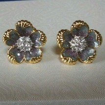 Vintage Signed NOLAN MILLER Gray/Purple Enamel Flower Clip-on Earrings - $95.00
