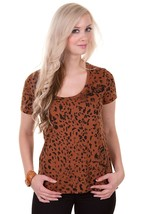 New Vans Girls Womens St. Albans Leopard Muscle Tee Top Shirt Tshirt Medium M Md - $18.65