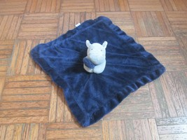 Carters Blue Navy Hippo Gray Plush Baby Lovey Security Blanket Satin Bac... - $48.01