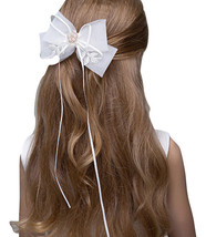 Cute Girl Bow Tie Hair Clip Hairpin White Wedding Flower Girl Hair Accessories