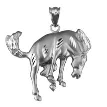 Sterling Silver Bucking Stallion Horse Satin DC Pendant  - $29.99
