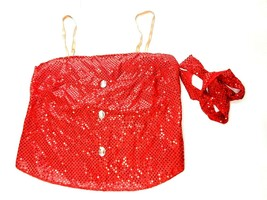 Red Sparkle Sequin Dance Top With Straps Size Adult XL & 2XL Costume - $14.98