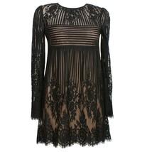 BCBG MAXAZRIA Black Luann Floral Stripe Lace Bell Sleeve Babydoll Mini D... - $149.99