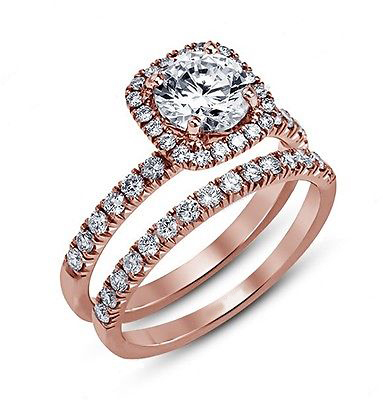 14k Rose Gold Plated 925 Pure Silver Round Cut White CZ Bridal Wedding Ring Set