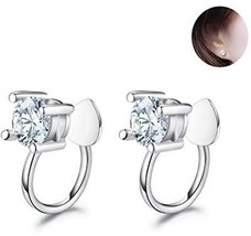Fashion Cubic Zirconia 925 Sterling Silver Clip On Earrings Cuff Wrap For Non - $27.89