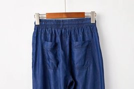 Dark Blue Denim CROP PANTS Drawstring Elastic Waisted Crop HAREM PANTS Trousers image 5