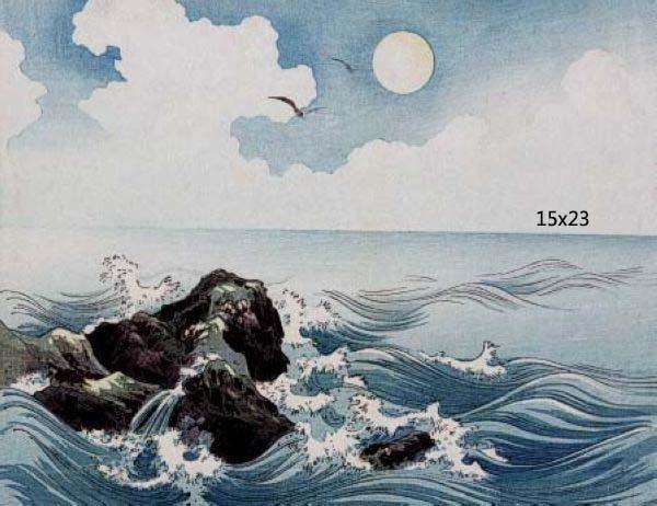 Japanese Asian Meiji Woodcut Ocean Waves 16x21 Art Poster Print - $17.33