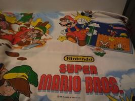 VINTAGE NINTENDO SUPER MARIO BROS. LEGEND OF ZELDA TWIN FLAT BED SHEET 6... - $45.00
