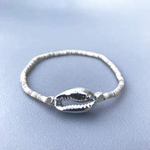 Bohemian gold shell bracelet for women stretch bracelet natural shell be... - $10.72