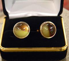 Rare Original Vintage KREISLER Brown and Yellow Change-O-Color Cufflinks - £97.92 GBP