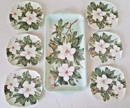 Keller Charles Melamine Appetizer Tray set 6 plates Light Green White Ma... - $22.76