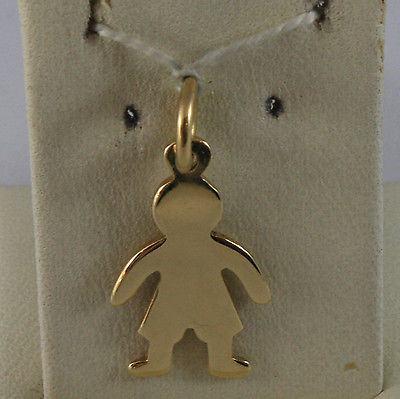 SOLID 18K YELLOW GOLD BOY PENDANT, BABY, LENGTH 0,91 IN MADE IN ITALY