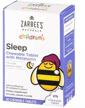 Zarbee's Naturals Children's Sleep Melatonin Chewable Tablets Natural Grape 30ct - $17.50