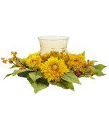Golden Sunflower Candelabrum Silk Flower Arrangement, Nearly Natural - $50.69