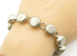 MEXICO 925 Silver - Vintage Smooth Round Dome Linked Chain Bracelet - B6238 - $110.59