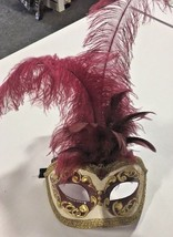 Hand Painted Eye Mask From Venice - Cream/ Wine /Gold - $32.75