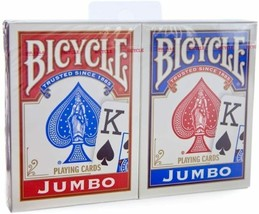 Bicycle Jumbo Index Rider Back Playing Cards, Red and Blue, 2 ct - $7.83