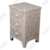 Bone inlay Uptime bedside cabinet - bone inlay furniture by Galaxy Art Deco - $1,057.56