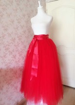 Women's Red Tulle Skirt Floor Length Red Maxi Tulle Skirt High Waist Prom Skirt image 2