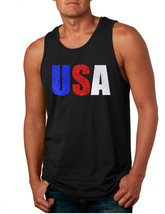 Men's Tank Top USA Glitter Flag Colors Cool 4th Of July Top - $15.94+