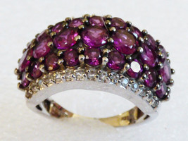 Sterling Silver 925 Wide Dome design Ruby CZ Ring Band size 7.5 - $59.40