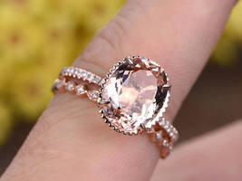 2.27ct AAA Morganite Wedding Halo Bridal Ring Set 14K Rose Gold Over Silver - $120.79