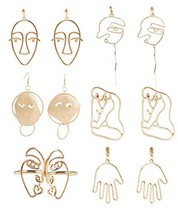 Mrotrida Face Earrings Set Abstract Art Human Face Hand Dangle Earring &... - $20.33