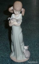 """""""Don't Forget Me"""" Lladro Figurine #5743 Girl With Kittens With Original Box! - $266.74"""