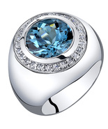Men's Sterling Silver 5.50 Carat London Blue Topaz Signet Ring - $159.99