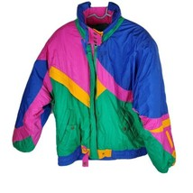 Kaotic Womens Jacket Sz L Lg Color Block Green Pink Blue Retro Coat - $57.44