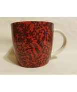 STARBUCKS 2017 Holiday Red Purple Poinsettia Gold Logo Porcelain Mug Cup  - $17.81