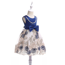 Flower Girls Dress Navy Blue Lace  Wedding Girls Pageant Gowns Ball Gowns Beaded image 2