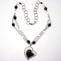 SILVER 925 NECKLACE, ONYX BLACK, AGATE WHITE, HEART PENDANT, CHAIN TWO FILE image 2