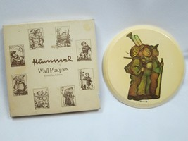 "Vintage Hummel Wall Plaque 3 Boys Round Glazed Chalkware 7"" w/ Original Box - $12.99"
