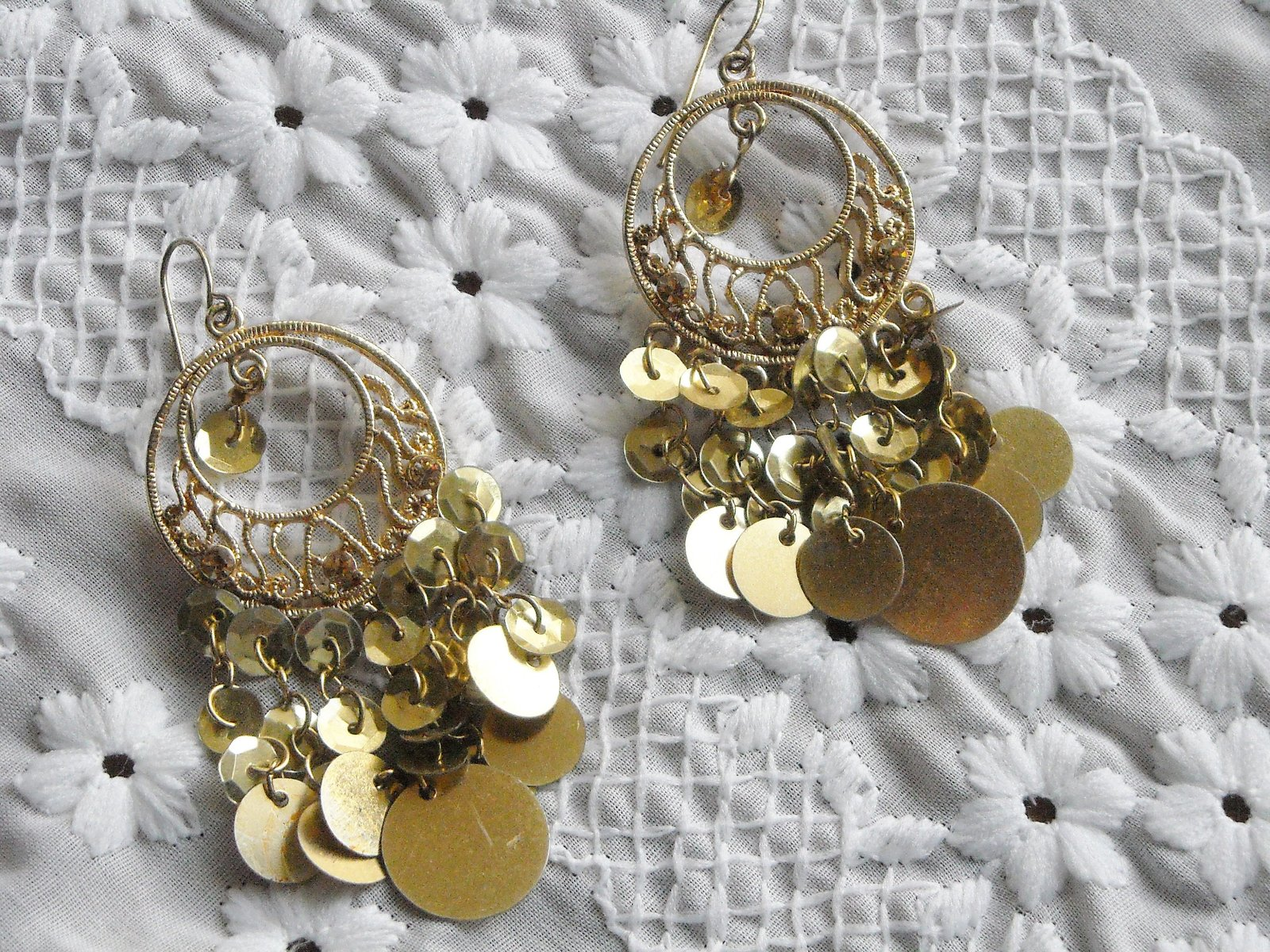 Vintage Earrings Chandelire Hook Gold Tone Filigree With Gold Sequins Chacha