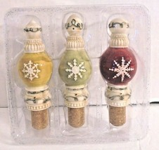 Set of 3 Snowflakes Porcelain Pourer Wine Bottle Stopper red green yello... - $14.82