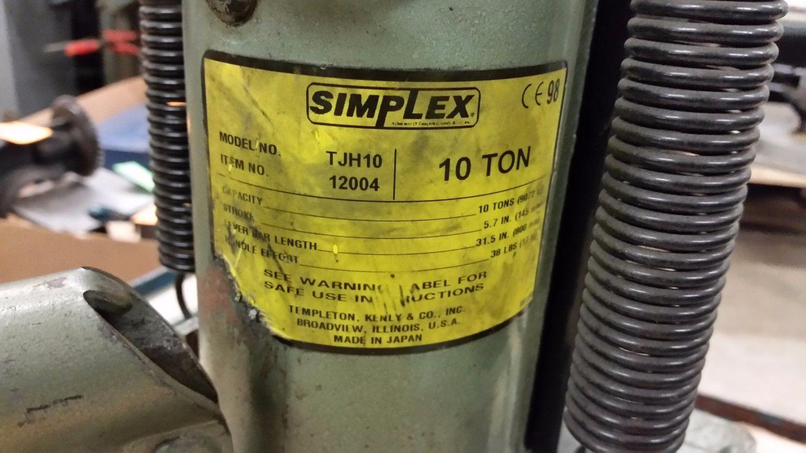 SIMPLEX TJH10 HYDRAULIC RAILROAD TOE JACK 12004