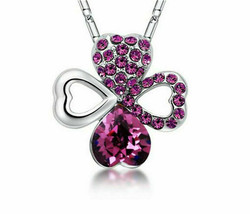 Fashion Lady Silver Necklace Wine Red Crystal Lucky Clover Cubic Zirconi... - $7.00