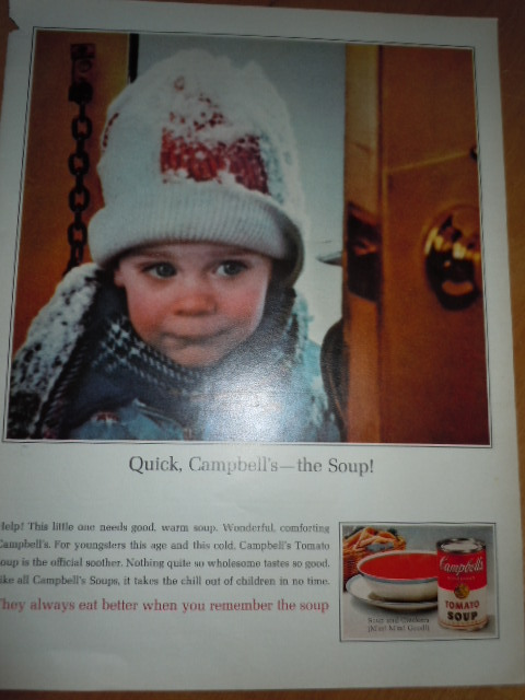 Campbell's Soup Little Girl In Winter Coat and Snow Print Magazine Ad 1965
