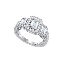 14k White Gold Emerald Diamond 3-stone Bridal Wedding Engagement Ring 2.... - $5,040.00