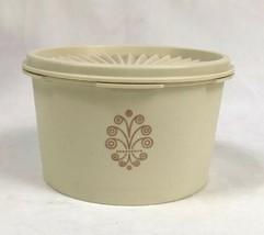 Vintage Tupperware #1298 Servalier Canister w/#810 Sunburst Seal Almond ... - $17.63
