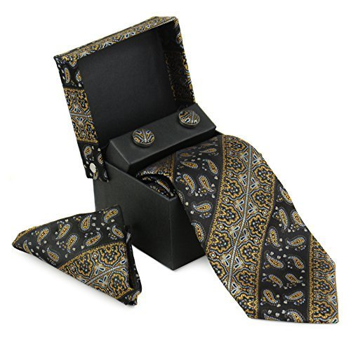 Berlioni Men's Silk Neck Tie Box Set With Cufflinks & Pocket Square (2084 - Blac