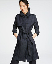 ANN TAYLOR Refined Denim Trench, Dark Denim, Cotton, Unlined, Size M, Pr... - $89.99
