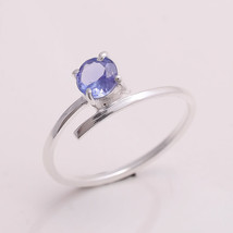 NATURAL TANZANITE 5 MM ROUND 925 STERLING SILVER 5.5 US RING - £7.90 GBP